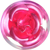 5/8 Clear Acrylic Floating Pink Metallic Rose Flower Plug