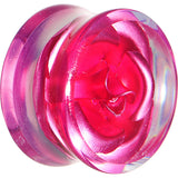 18mm Clear Acrylic Floating Pink Metallic Rose Flower Plug