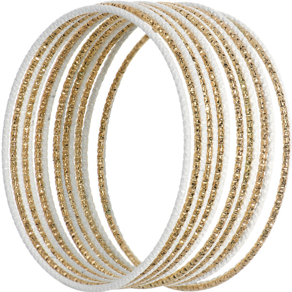 White and Gold Sparkle Multi Bangle Bracelet