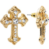Crystalline Gem Gold Tone Old World Cross Stud Earrings