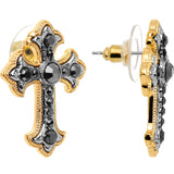 Hematite Gem Gold Tone Old World Cross Stud Earrings