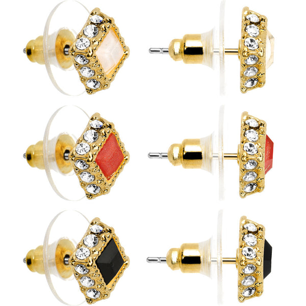 White Coral Black Crystalline Gem Gold Tone Sparkling Stud Earrings 3 Pair Set
