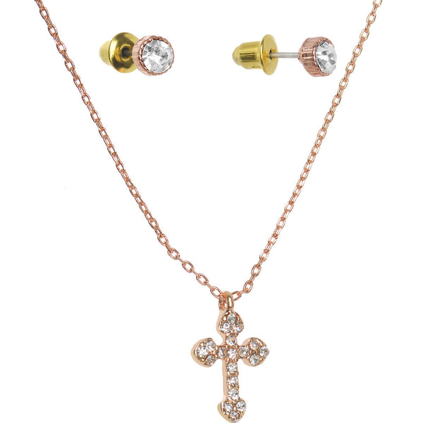 Clear Gem Rose Gold Tone Cross Pendant Necklace and Stud Earrings Set