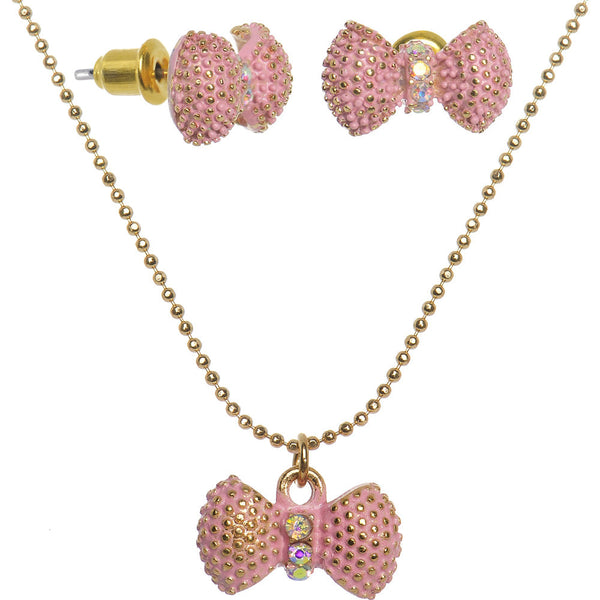 Aurora Gem Pink Gold Tone Cute Bow Necklace and Stud Earrings Set