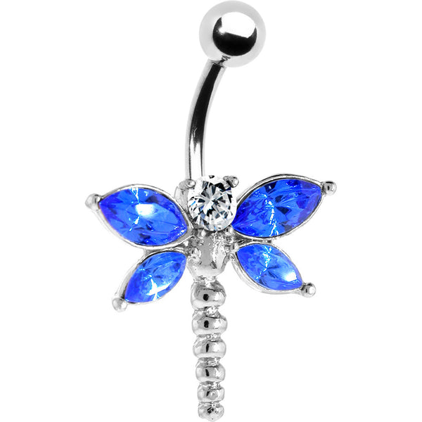 Sapphire Blue WINGED DRAGONFLY Belly Ring