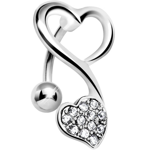Top Mount Crystalline Gem Swirling Dual Hearts Belly Ring