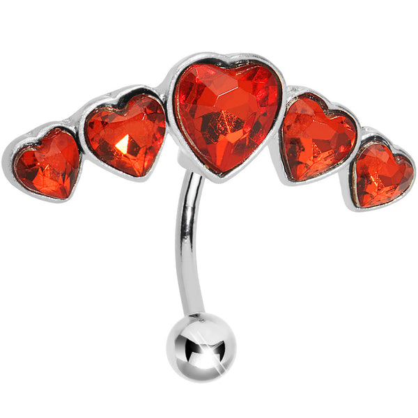 Top Mount Ruby Red Gem Five Across Heart Belly Ring
