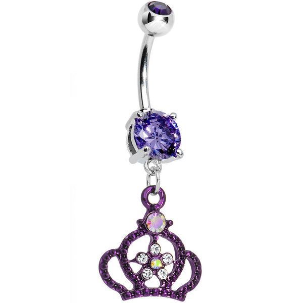 Purple Gem Princess Crown Belly Button Ring