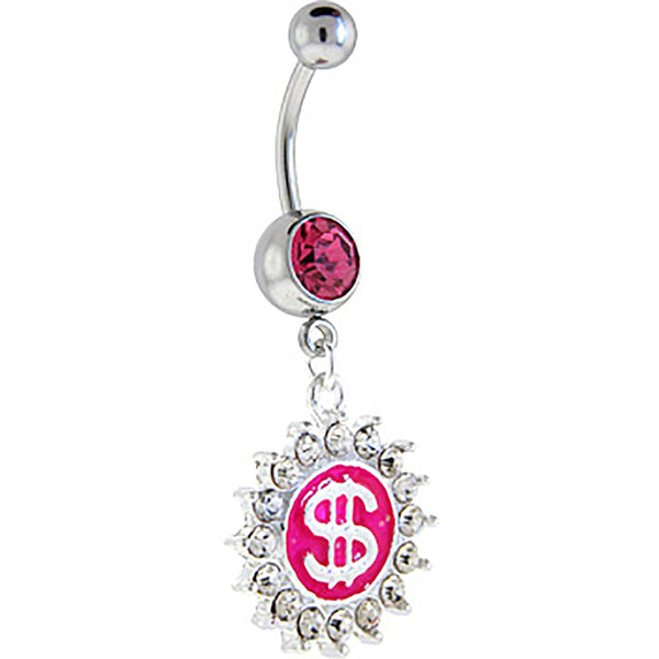 Pink Gem BIG MONEY Dollar Sign Dangle Belly Ring