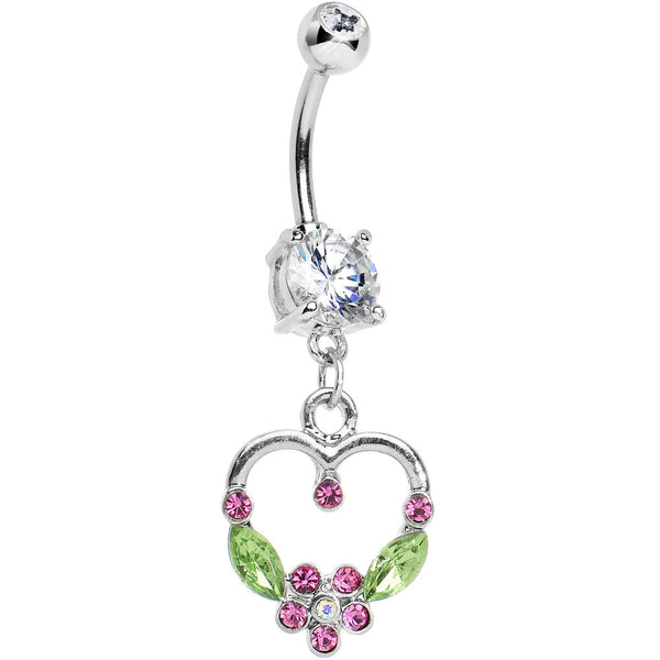 Crystalline Gem Floral Hollow Heart Dangle Belly Ring