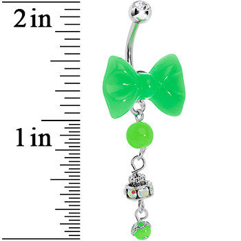 Aurora Gem Green Neon Bow Dangle Belly Ring
