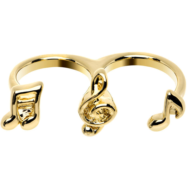 Gold Tone Music is Life Double Finger Ring