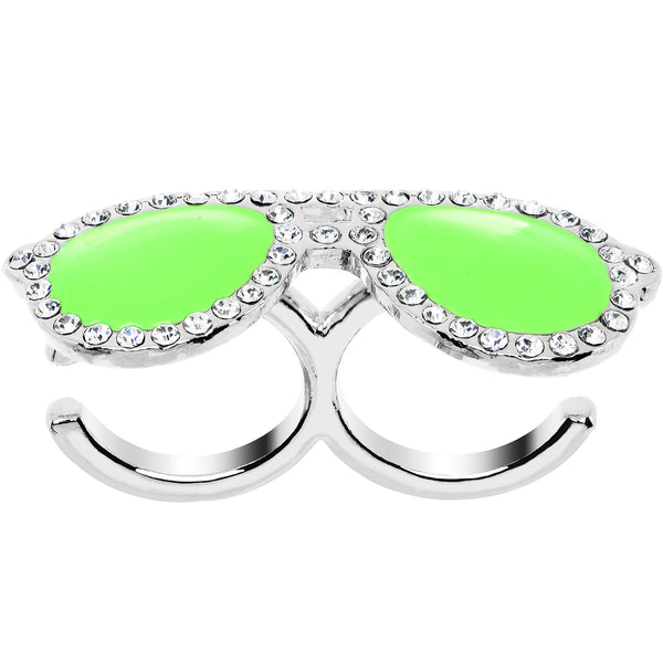 Green Neon Clear Gem Silver Tone Fashion Glasses Double Finger Ring