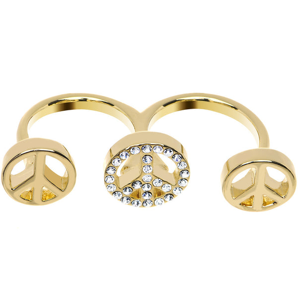 Clear Gem Gold Tone Triple Peace Sign Double Finger Ring