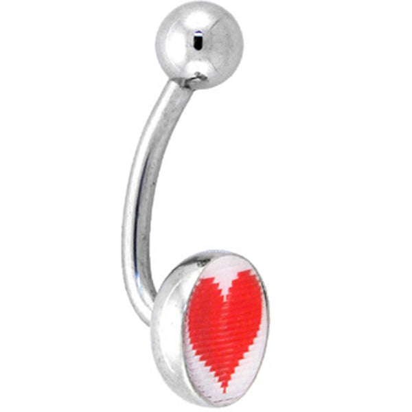 Heart and Broken Heart HOLOGRAM LOGO Belly Button Ring