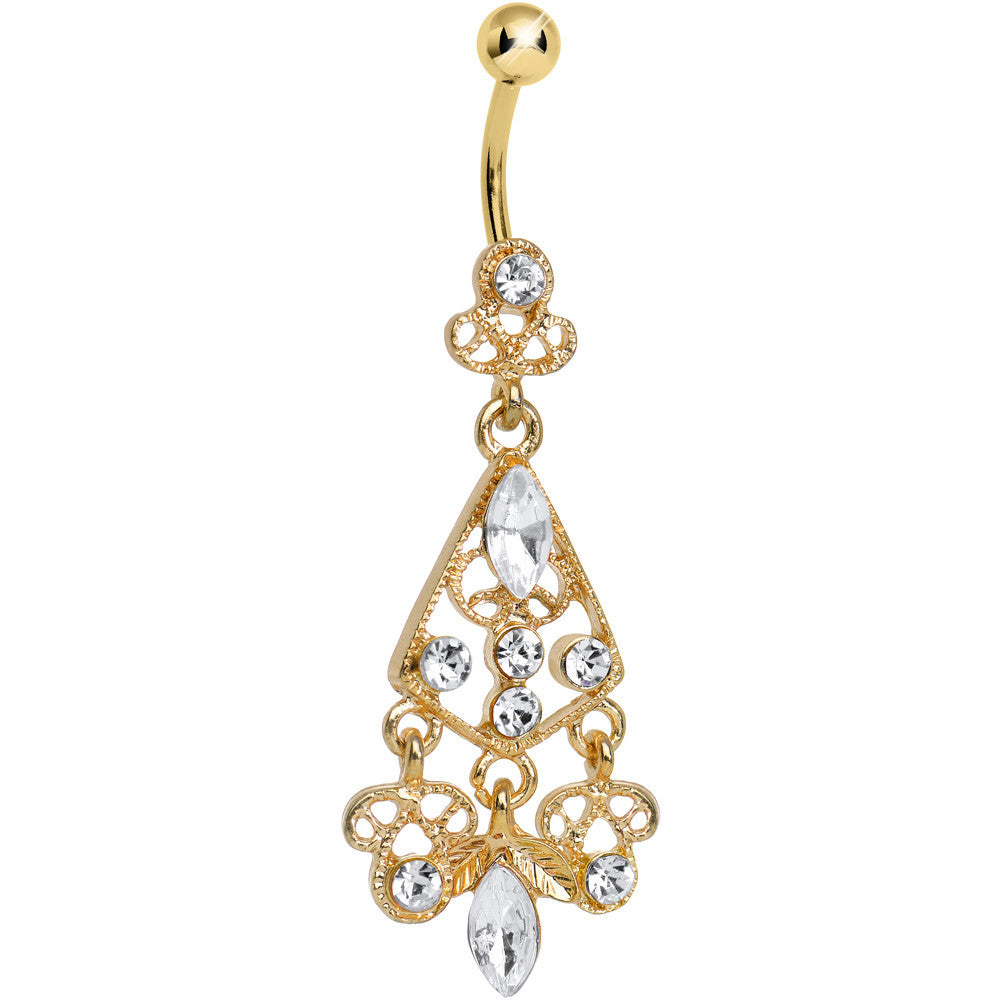 Gold plated luxurious clear cz chandelier belly ring bodycandy gold plated luxurious clear cz chandelier belly ring mozeypictures Images