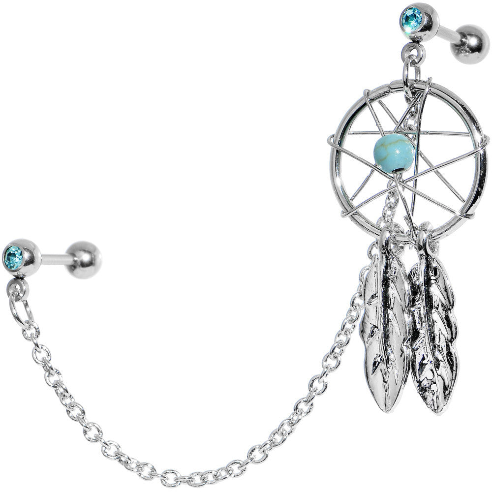 16 Gauge Aqua Gem Inspire Dreamcatcher Cartilage Tragus Barbell Chain  Earring