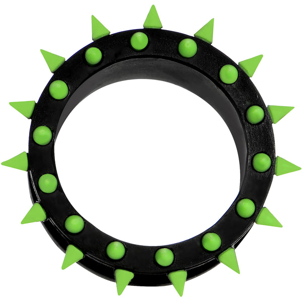 7/8 Black Neon Green Silicone Spiked Flexible Tunnel