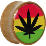 20mm Organic Sandalwood Rasta Pot Leaf Saddle Plug