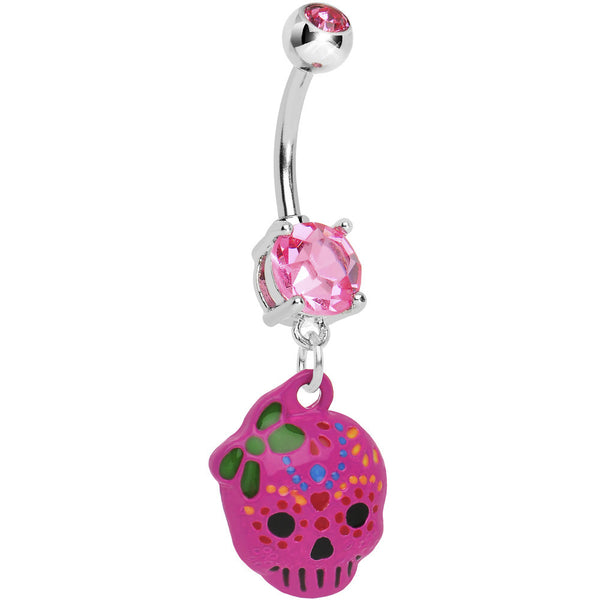 Pink Gem Girly Sugar Skull Dangle Belly Ring