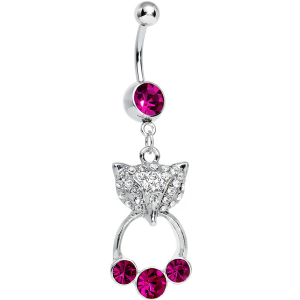 Fuchsia Gem Jeweled Foxy 3 Gem Dangle Belly Ring