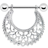 14 Gauge Silver Tone Artistic Swirls Nipple Shield Set