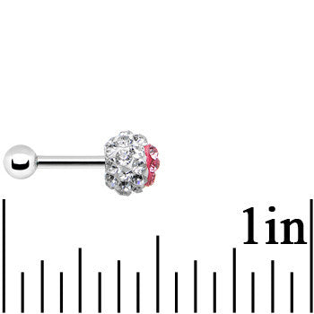 16 Gauge 1/4 Clear and Pink Gem Ferido Heart Tragus Cartilage Earring