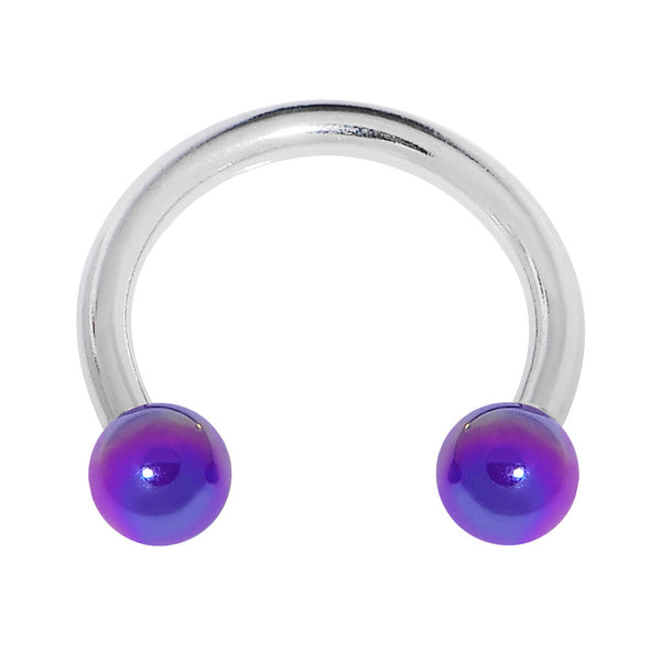 "16 Gauge 5/16"" 3mm Acrylic Metallic Purple Horseshoe Circular Barbell"