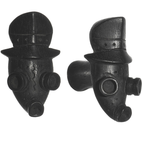 2 Gauge Organic Arang Wood Gas Mask Hand Carved Plug Set