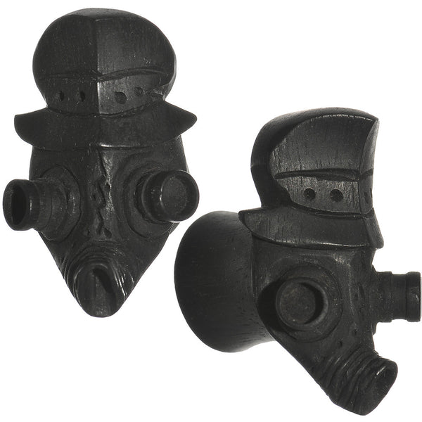 "1/2"" Organic Arang Wood Gas Mask Hand Carved Plug Set"