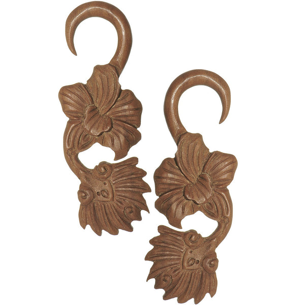 6 Gauge Organic Sabo Wood Art Nouveau Flower Hanger Plug Set