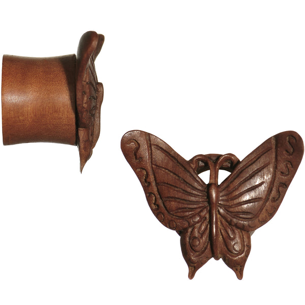 9/16 Organic Sabo Wood Autumn Butterfly Hand Carved Plug Set
