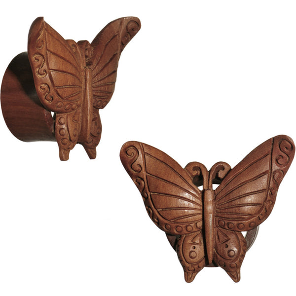 3/4 Organic Sabo Wood Autumn Butterfly Hand Carved Plug Set