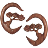 0 Gauge Organic Sabo Wood Bonsai Tree Hanger Plug Set