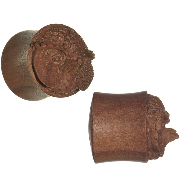 9/16 Organic Sabo Wood Mr. Owl Hand Carved Plug Set