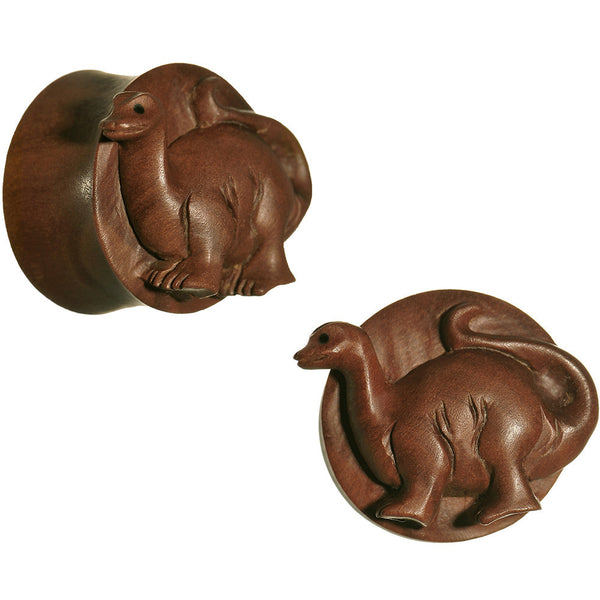 "1"" Organic Sabo Wood Brontosaurus Hand Carved Plug Set"