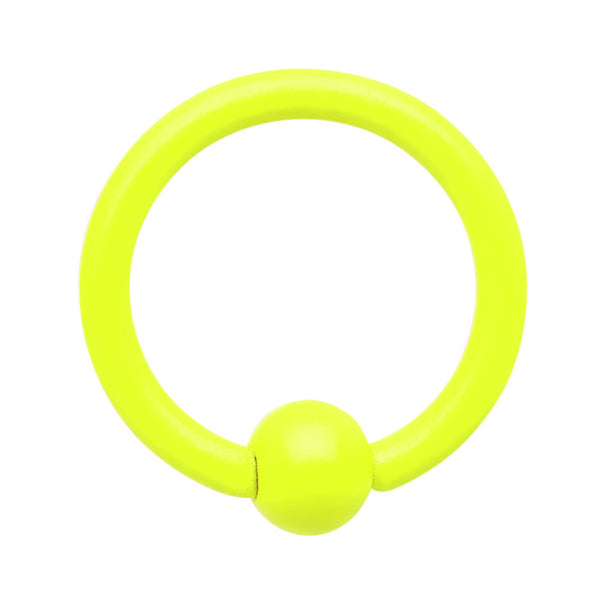 18 Gauge 1/4 Neon Yellow BCR Captive Ring 2.5mm Ball