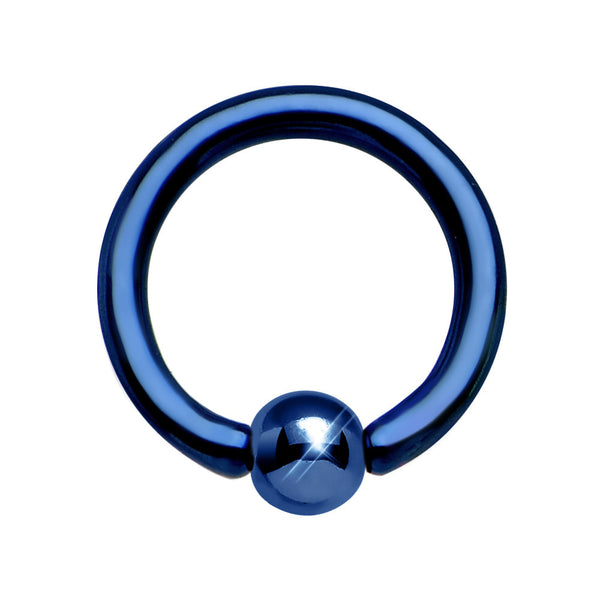 16 Gauge 1/4  Neon Blue Anodized Titanium BCR Captive Ring 2.5mm Ball