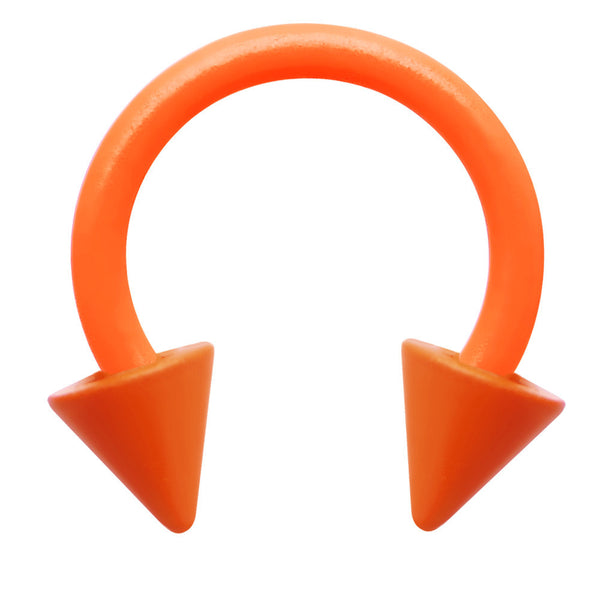 18 Gauge 1/4  Neon Orange Horseshoe Circular Barbell 3mm Spike