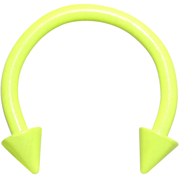 16 Gauge 3/8 Neon Yellow Horseshoe Circular Barbell 3mm Spike