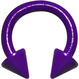 "14 Gauge 5/16"" Neon Purple Horseshoe Circular Barbell 4mm Spike"