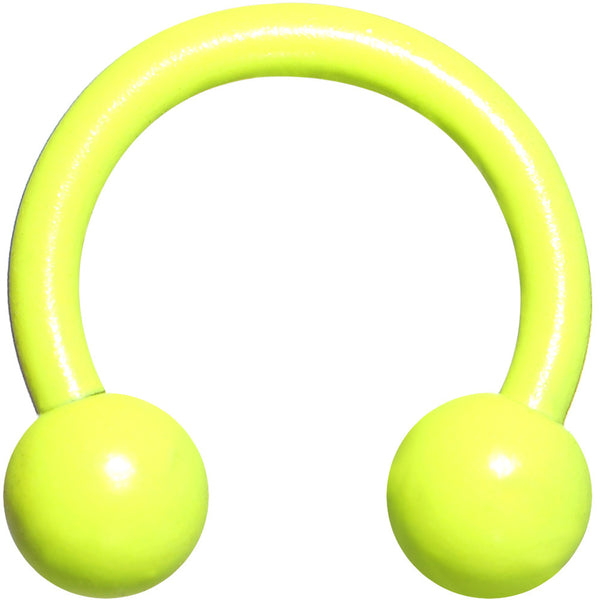 18 Gauge 1/4 Neon Yellow Horseshoe Circular Barbell 3mm Ball
