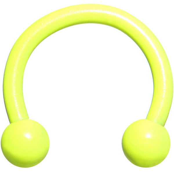 16 Gauge 5/16 Neon Yellow Horseshoe Circular Barbell 3mm Ball
