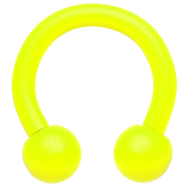 "14 Gauge 5/16"" Neon Yellow Horseshoe Circular Barbell 4mm Ball"