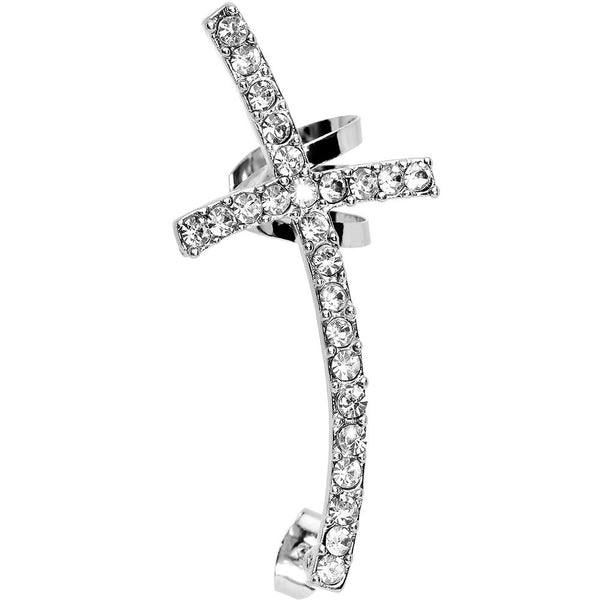 Clear Gem Paved Curved Cross Left Ear Cuff Stud Earring