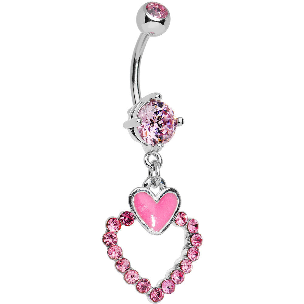 Crystal Hollow Dangle Steel Heart Piercing Navel Belly Button Rings