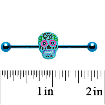 Light Blue Anodized Titanium Baby Blue Sugar Skull Industrial Barbell