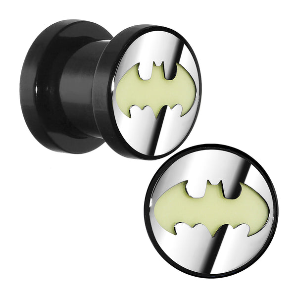 0 Gauge Licensed Batman Glow in the Dark Screw Fit Plug Set