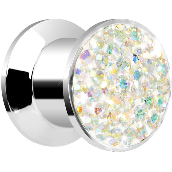 0 Gauge Aurora Ferido Crystal Steel Screw Fit Plug