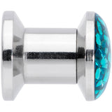 2 Gauge Aqua Blue Ferido End Screw Fit Plug Set